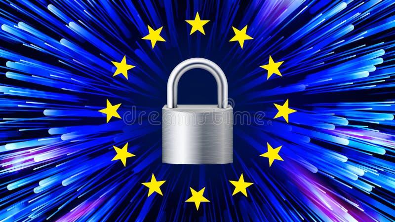 GDPR tła wektor kłódka gwiazdy Ochrony sieci sztandar niebieska matrycy Internetowy przepis ilustracja royalty ilustracja