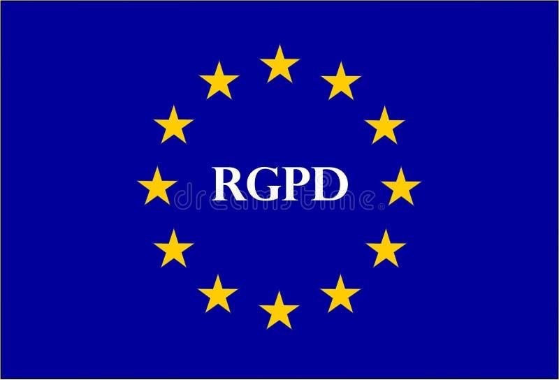 GDPR teken geroepen RGPD in het Frans stock illustratie