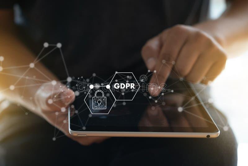 GDPR Teknolog Data Security s för IT för reglering för dataskydd royaltyfria bilder