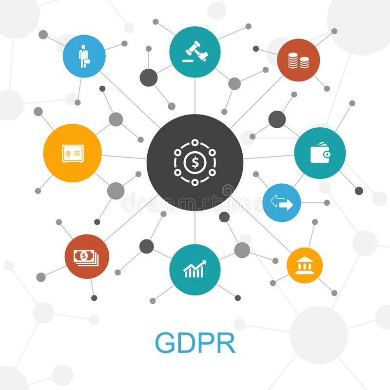 GDPR trendy web concept with icons royalty free illustration