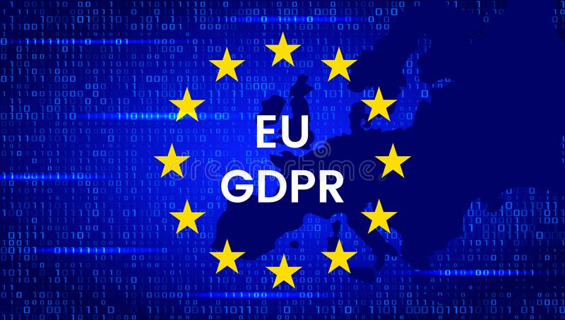 GDPR - Unii Europejskiej ochrona danych akt Nowożytny sztandar z UE flagą i ochrona symbolem wektor ilustracja wektor
