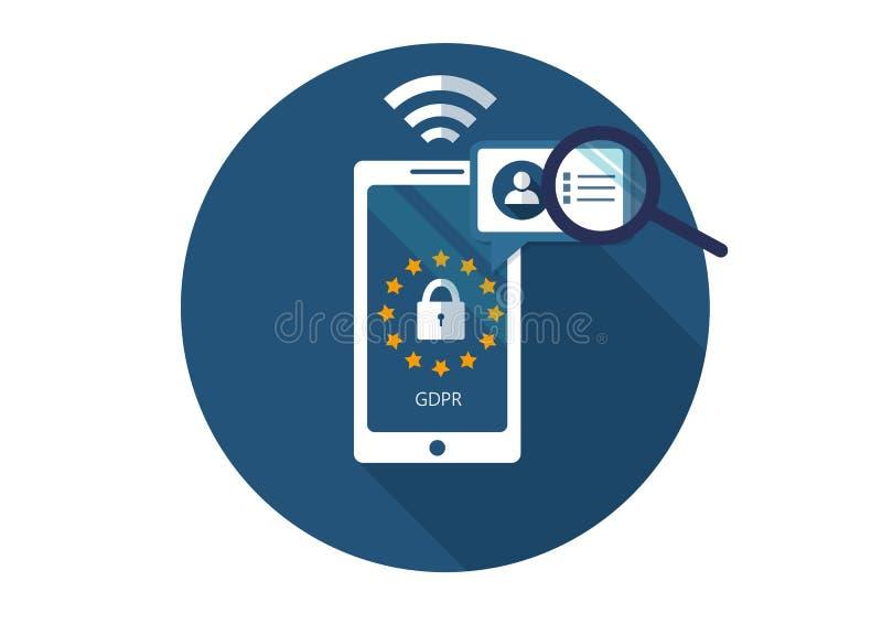 GDPR Vlakke vectorillustratie Algemene Gegevensbeschermingverordening Bescherming van persoonlijke informatie vector illustratie