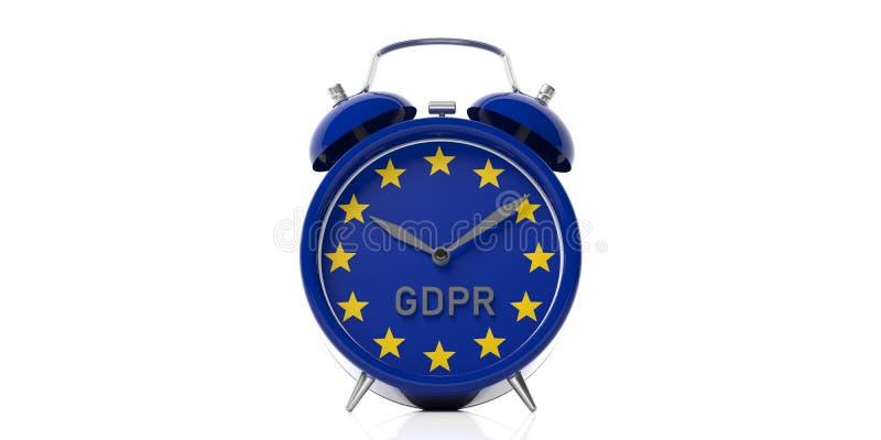 GDPR y bandera de unión europea en un despertador aislado en el fondo blanco ilustración 3D stock de ilustración