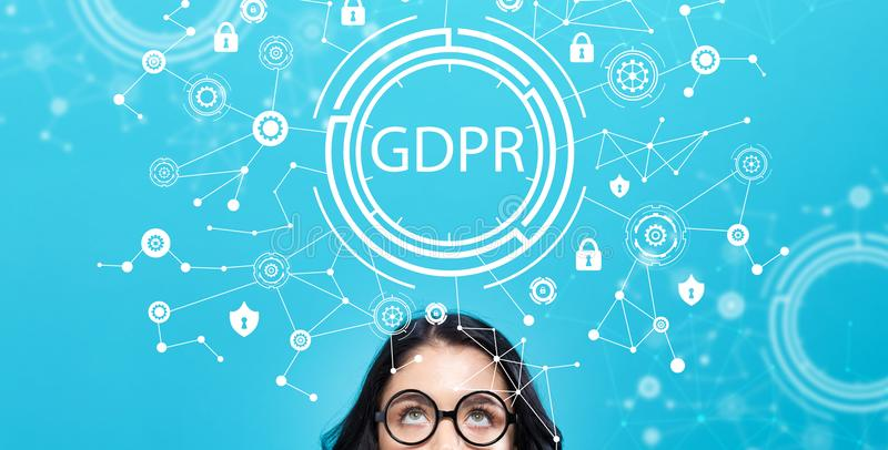 GDPR with young woman. On a blue background stock illustration