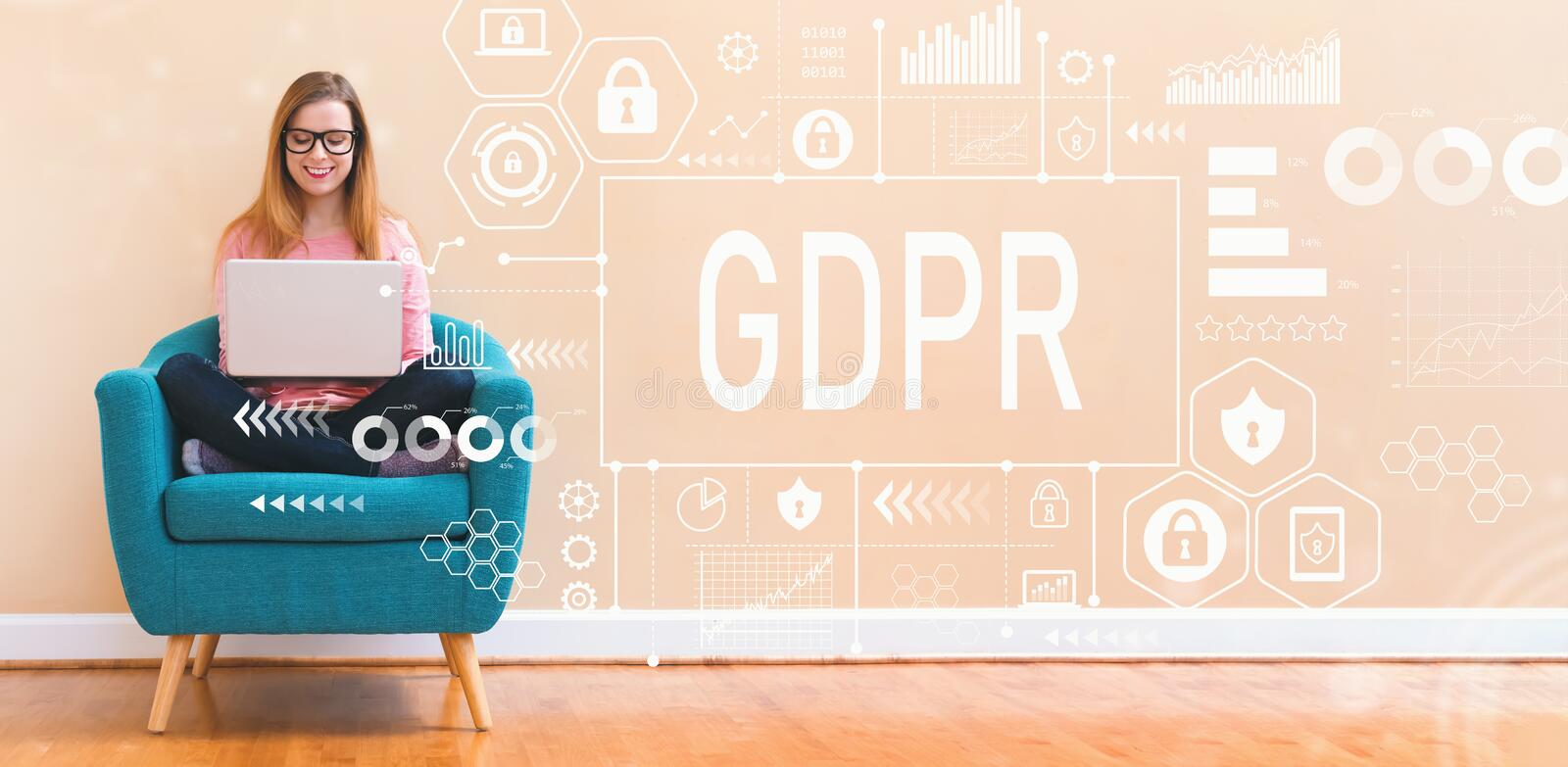 GDPR with young woman using laptop royalty free stock photos