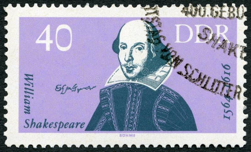 GDR -大约1964年:德国显示威廉・莎士比亚(1564-1616), 400th诞生周年 库存图片
