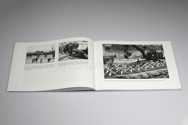 The Berlin Wall 1961-1989 Book, escape tunnerl in Bernauer Strasse Street, Berlin stock photos