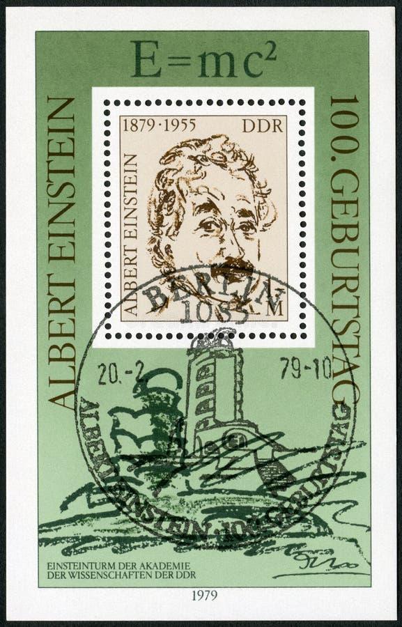 GDR - 1979: przedstawienia Albert Einstein 1879-1955, fizyk 100th rocznica obraz stock