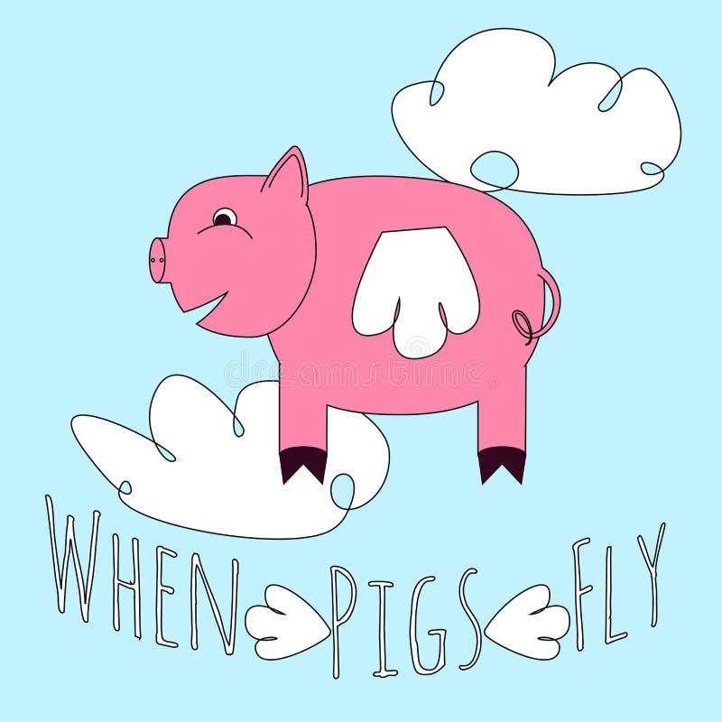 Gdy świnie latają idiom ilustracji