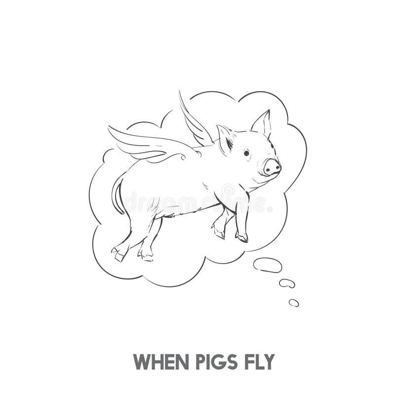 Gdy świnie latają idiom ilustrację ilustracja wektor