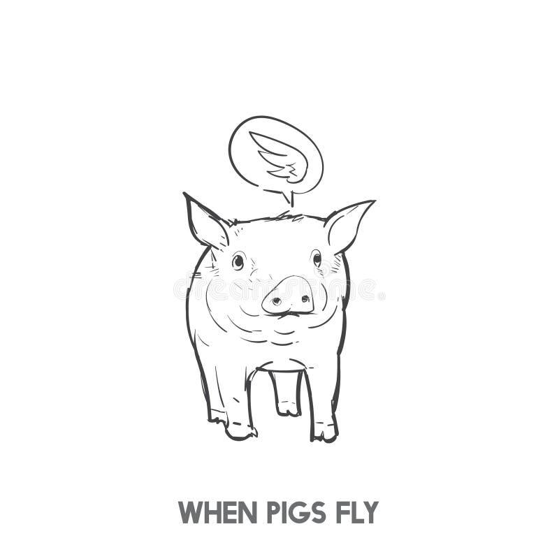 Gdy świnie latają idiom rękę rysującą ilustracja wektor