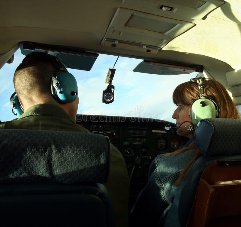 gdy gadki pary pilota samolot mały obraz royalty free
