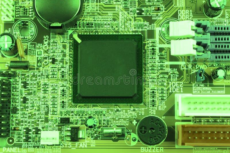 gdy tło deska może use Elektronicznego komputeru narzędzia technologia Płyta główna cyfrowy układ scalony Techniki nauki tło Zint obrazy royalty free