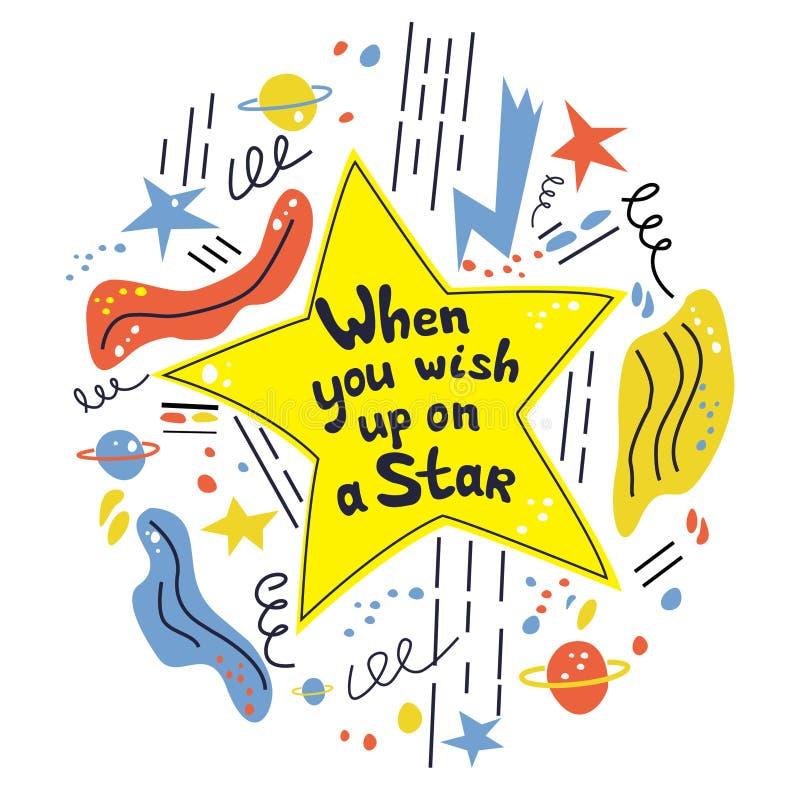 Gdy ty życzysz w górę gwiazdy dalej Ręka rysujący wektorowy literowanie Śmiały stylowy literowanie z zabawy wyceną ilustracja wektor