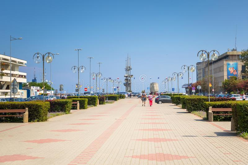 Gdynia, Poland - June 8, 2019: Promenade at Baltic Sea in Gdynia, Poland. Gdynia is an important seaport of Baltic Sea in Poland stock images