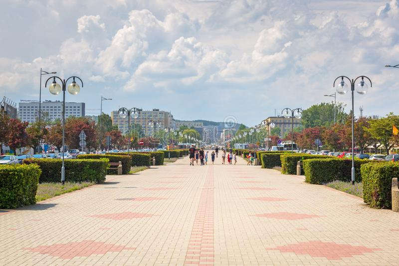 Gdynia, Poland - June 8, 2019: Promenade at Baltic Sea in Gdynia, Poland. Gdynia is an important seaport of Baltic Sea in Poland royalty free stock photos