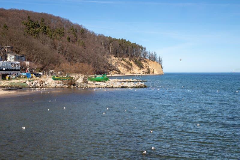 Gdynia, pomorskie/Pologne - mars, 22, 2019 : Falaise sur les rivages de la mer baltique en Europe centrale Un endroit du repos en images stock