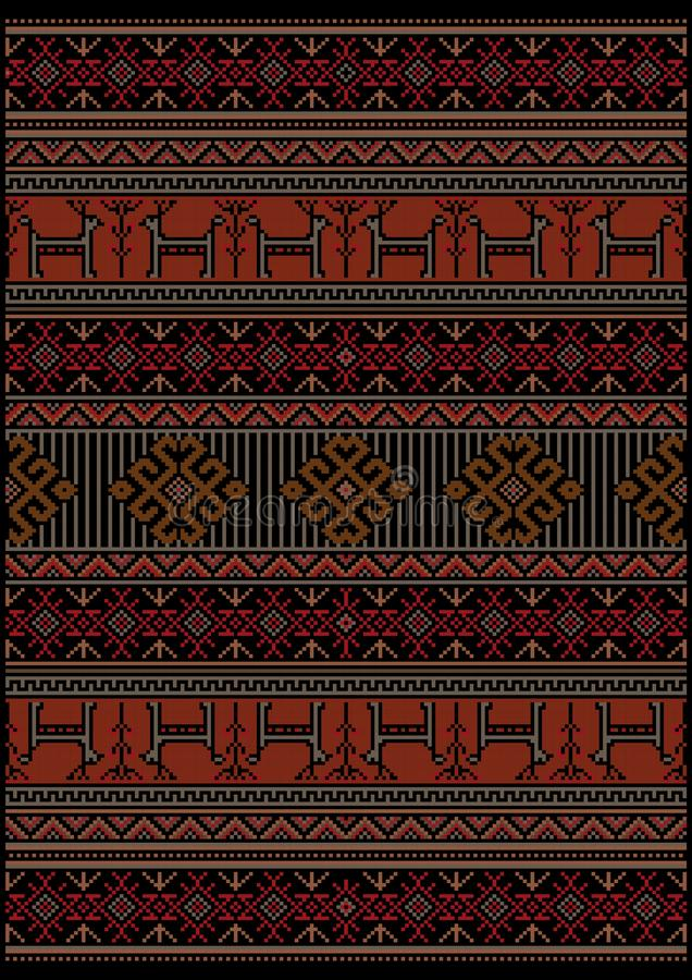 Luxury vintage carpet with ethnic pattern in red and black colors with gray deer and flowers. Original luxury vintage carpet with ethnic pattern in red and black royalty free illustration