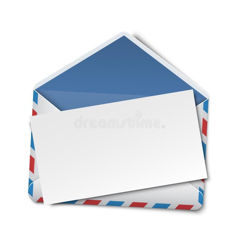 Geöffneter Umschlag mit leerer weißer Karte, leerer Anmerkung, leerer Einladung oder Grußkartenschablone vektor abbildung
