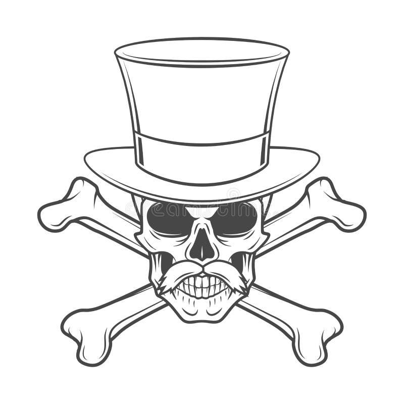 Geächteter Schädel mit dem Schnurrbart, hoher Hut vektor abbildung