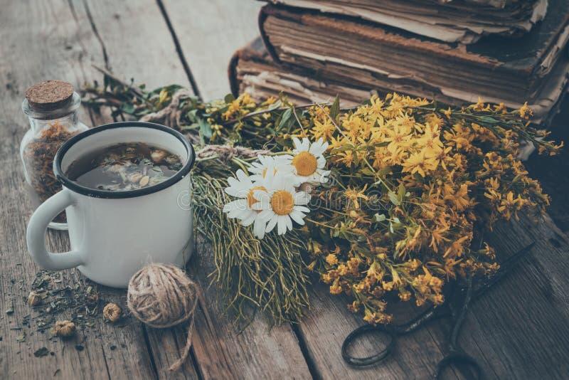 Geëmailleerde mok gezonde thee, bossen van geneeskrachtige kruiden en stapel oude boeken stock foto