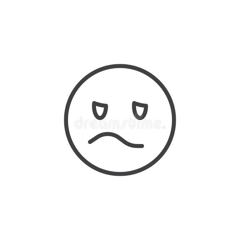 Geërgerd de lijnpictogram van het emojigezicht royalty-vrije illustratie