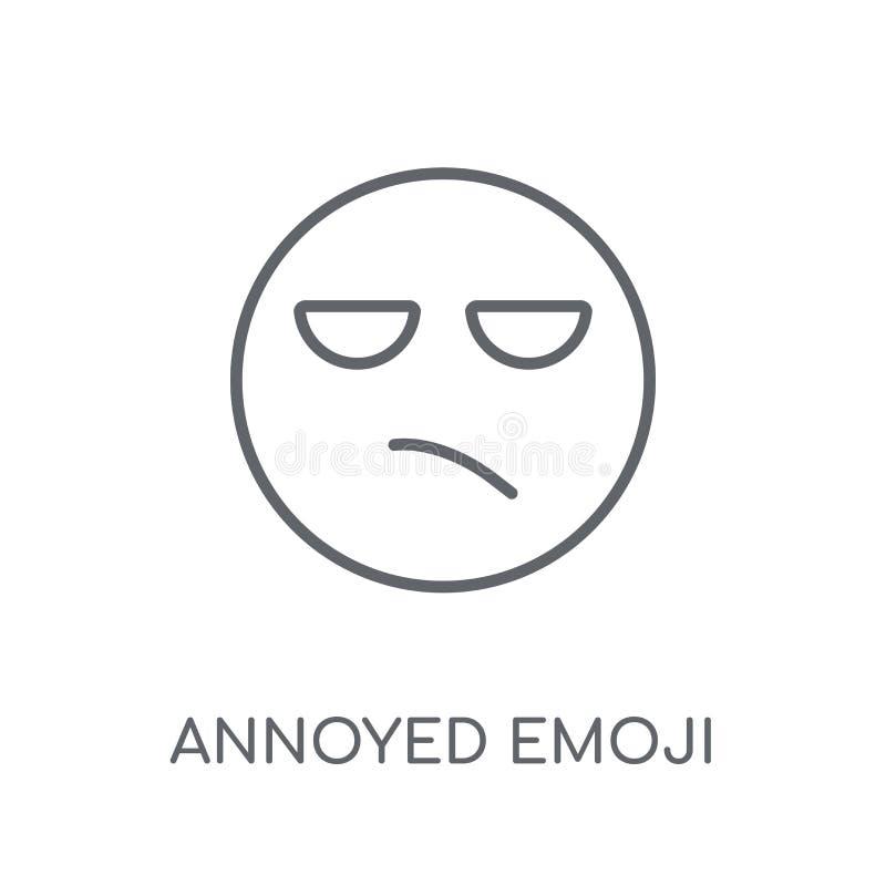 Geërgerd emoji lineair pictogram Het moderne overzicht Geërgerde emojiembleem bedriegt royalty-vrije illustratie
