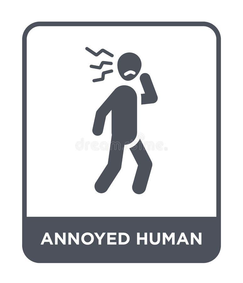 geërgerd menselijk pictogram in in ontwerpstijl geërgerd menselijk die pictogram op witte achtergrond wordt geïsoleerd geërgerd m stock illustratie