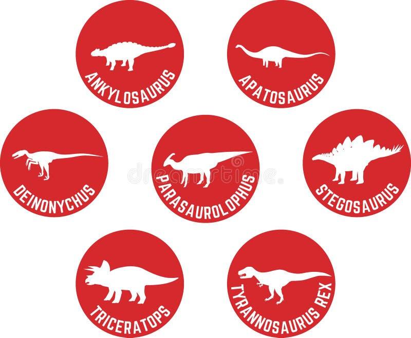 Geëtiketteerde Dinosaurus om Pictogram Vastgesteld Rood