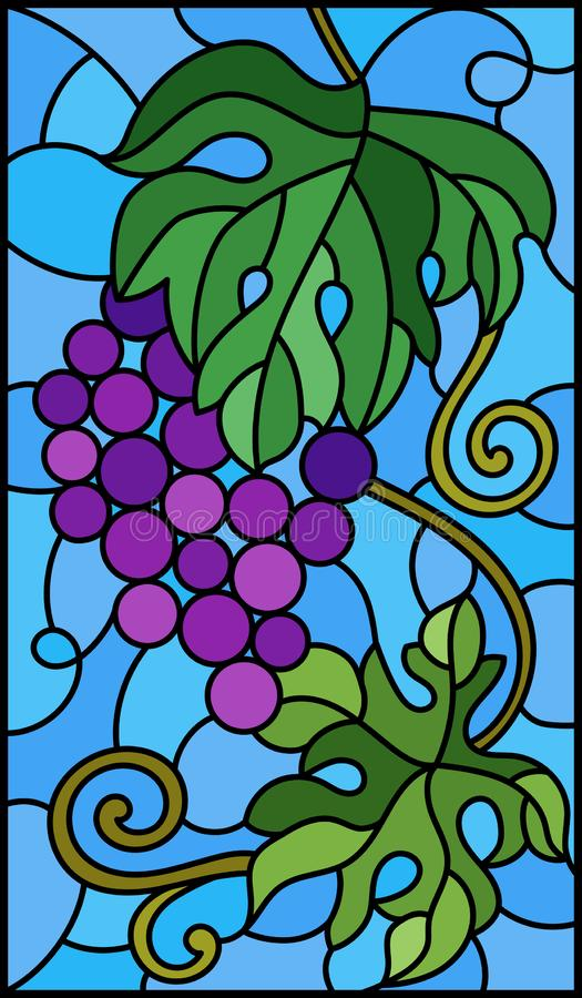 Geëxisteerde glazen illustratie met een hoop rode druiven en bladeren op een achtergrond van de hemel stock illustratie