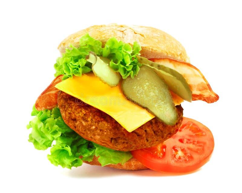 Geëxplodeerde mening van hamburger stock afbeelding