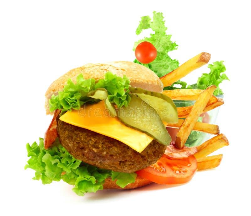Geëxplodeerde mening van hamburger royalty-vrije stock foto