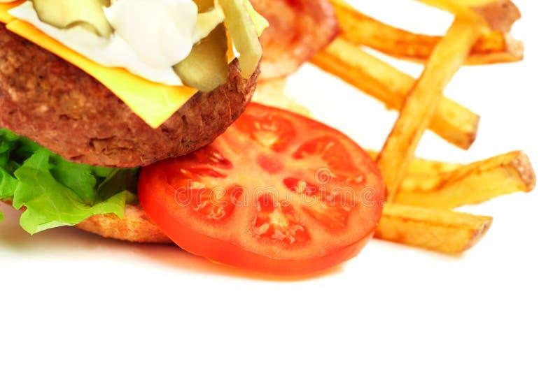 Geëxplodeerde mening van hamburger royalty-vrije stock afbeeldingen