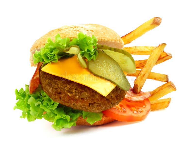 Geëxplodeerde mening van hamburger stock afbeeldingen