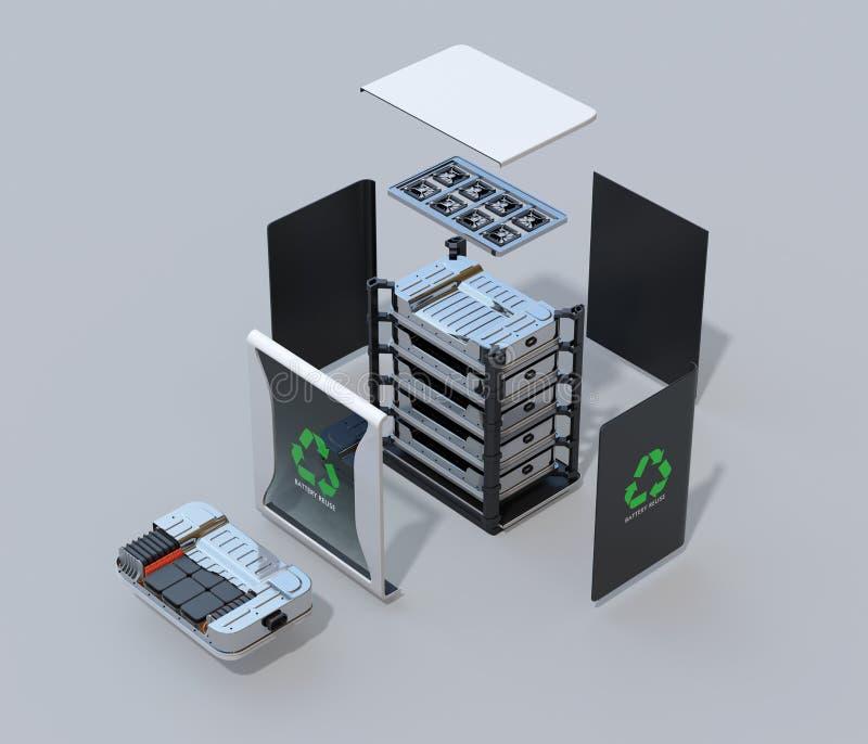Geëxplodeerde mening van opnieuw gebruikt de componentensysteem van elektrisch voertuigbatterijen met EV-het schemamening van het stock illustratie