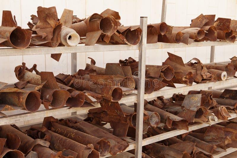 Geëxplodeerdem Raketten in Sderot stock fotografie