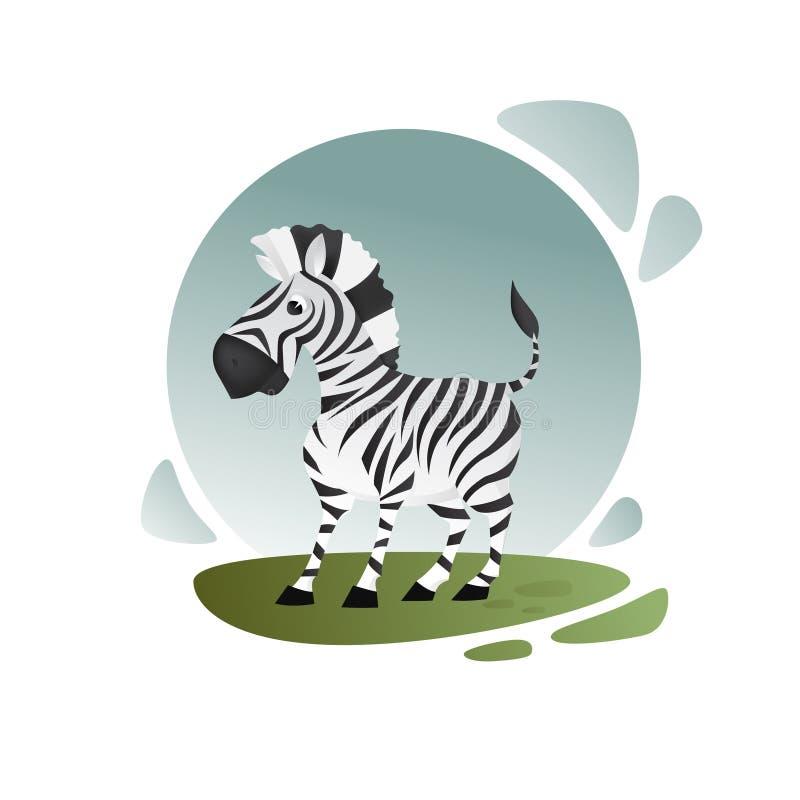 Geïllustreerde beeldverhaalzebra Vectorbeeldverhaalart. Afrikaanse dieren Mooi karakter vector illustratie