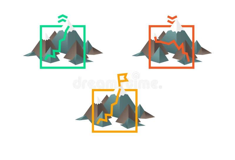 Geïllustreerde grafiek met statistiekenbar en heuvels stock illustratie
