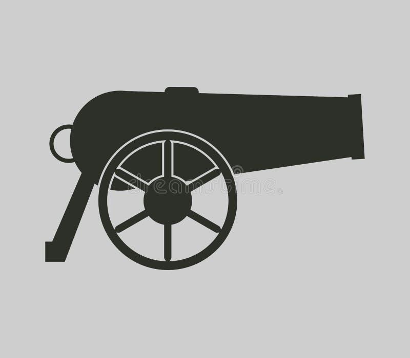 Geïllustreerde het kanon van de pictogramoorlog stock illustratie