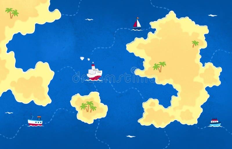 Geïllustreerde kaart - Achtergrondontwerp - Donkerblauwe overzees, eilanden en schepen stock illustratie