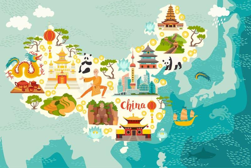 Geïllustreerde kaart van China royalty-vrije illustratie