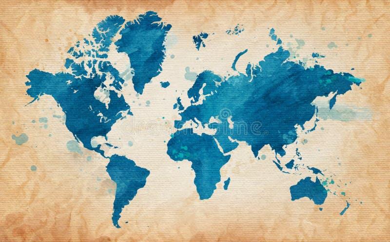 Geïllustreerde kaart van de wereld met geweven achtergrond en waterverfvlekken Kan als prentbriefkaar worden gebruikt Vector stock illustratie