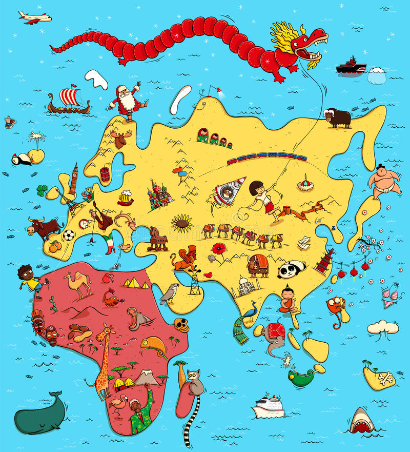 Geïllustreerde Kaart van Europa, Azië en Afrika stock illustratie
