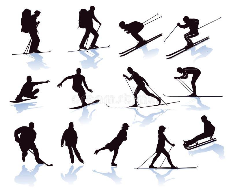 Geïllustreerde wintersporten royalty-vrije illustratie