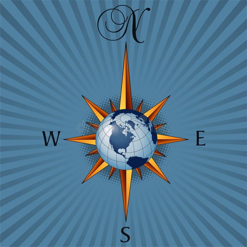 Geïllustreerdn globaal kompas royalty-vrije illustratie