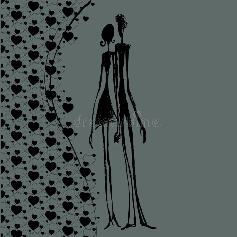 Geïllustreerdr abstract paar royalty-vrije illustratie