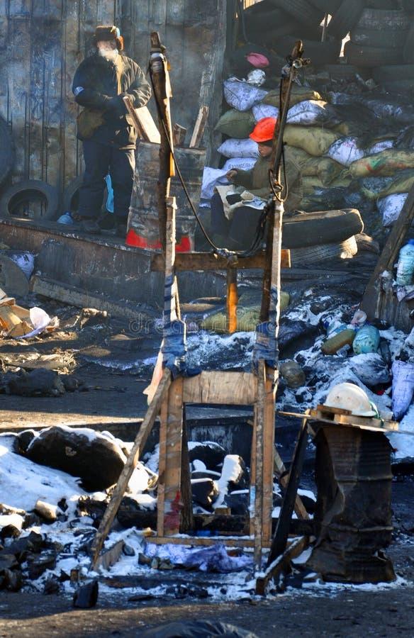 geïmproviseerde katapult bij barricades in Kyiv royalty-vrije stock foto's