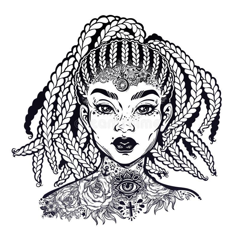 Geïnkt Afrikaans Amerikaans vrij zeker meisje De flitstatoegering van de zwarte decoratieve hals stock illustratie
