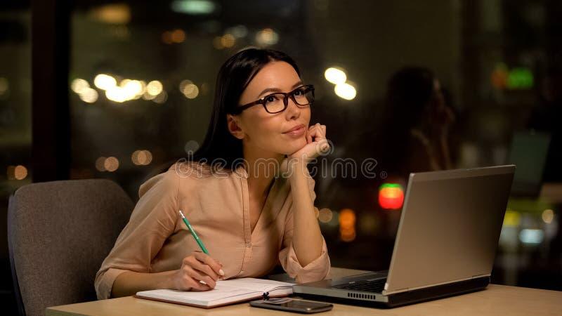 Ge?nspireerde vrouw het denken startidee?n die potlood houden, die van eigen zaken dromen stock afbeelding