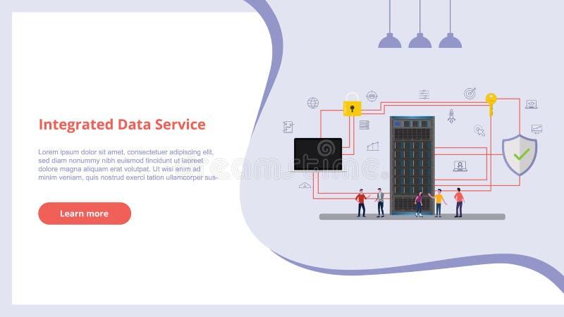 Geïntegreerd datadienstconcept met mensen voor de bannerserver van de websiteontwerpsjabloon en veilige pictogramdatabase - vecto stock illustratie